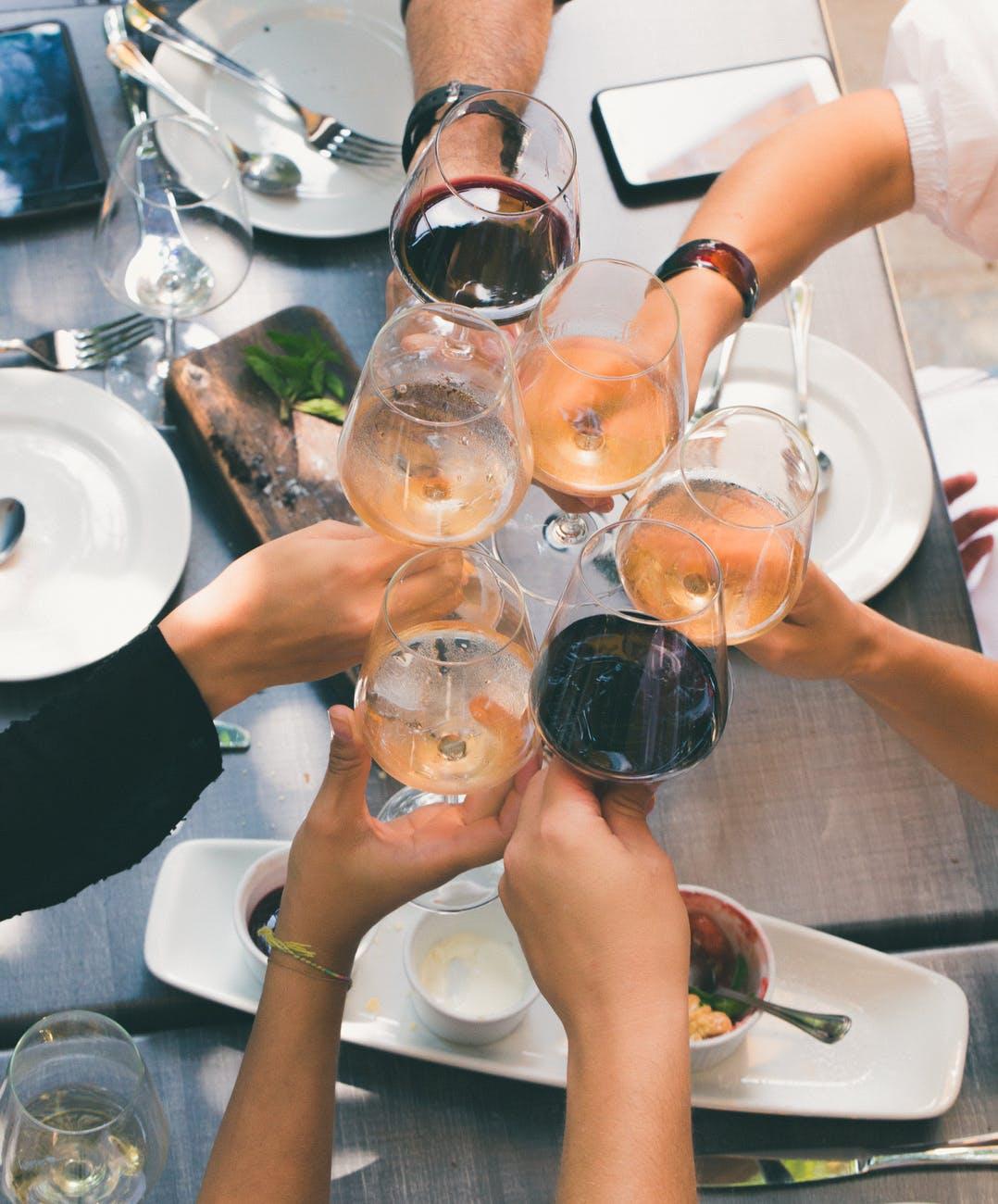 wine group toast